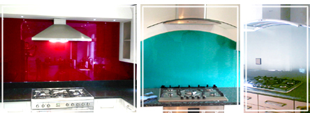 claret, teal and winter glass splashbacks