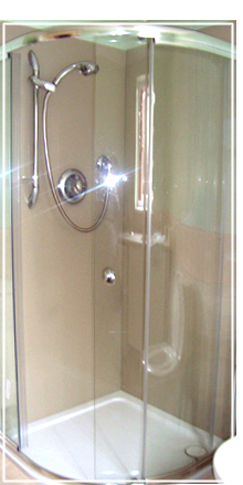 stone glass shower splashback